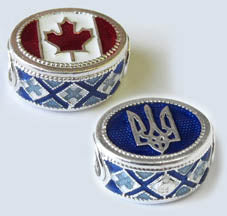 Sterling Silver Ukraine/Canada bead (blue)