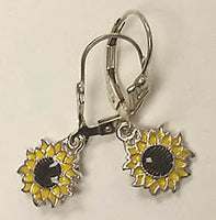Small Sunflower Sterling Silver Earrings