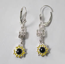 Silver Sunflower Tryzub Earrings