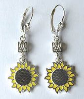 Sunflower Tryzub Earrings (sterling silver)