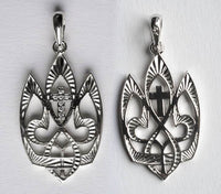 TRYZUB with CROSS in CZ STONES Sterling Silver