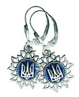 Tryzub in Sun Earrings sterling silver, enamel