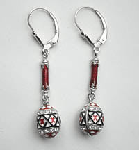 Pysanka Dangle Earrings (red, sterling silver)