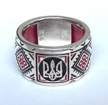 Vyshyvanka Red Enamel Tryzub Ring