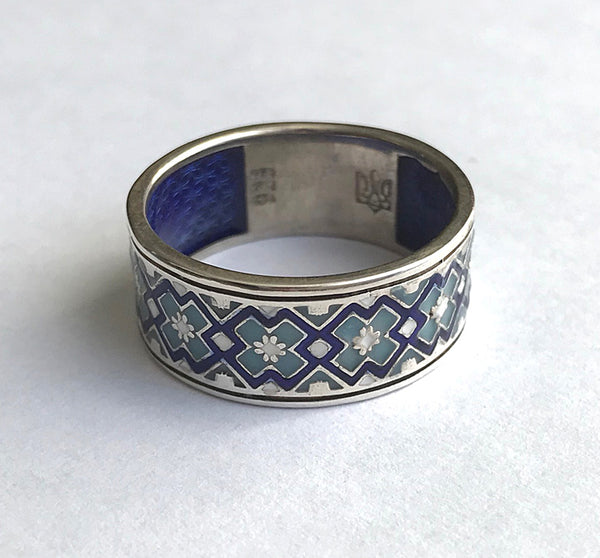 Thick Silver with Blue Embroidery Band Ring