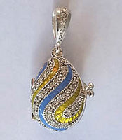 Blue-Yellow Swirl and Stones Locket