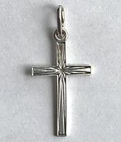 Silver Etched Cross 1""