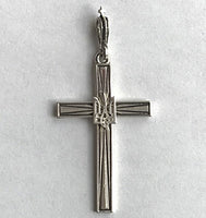 Silver Cross with Tryzub 1 3/4""