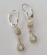 Silver Tryzub Dangle Earrings with crystal stone drop