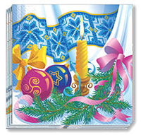 Rushnychok & Candle Christmas Napkins 13 x 13 in
