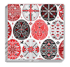 RED/BLACK PYSANKA NAPKINS 13x13