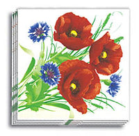 Poppies and Cornflower Dinner Napkins 13x13 in.