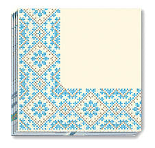 Blue/Yellow Emb Napkins 13x13 in