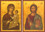 Portaitissa and Christ Blessing Icon Set, 7.5 x 11 in