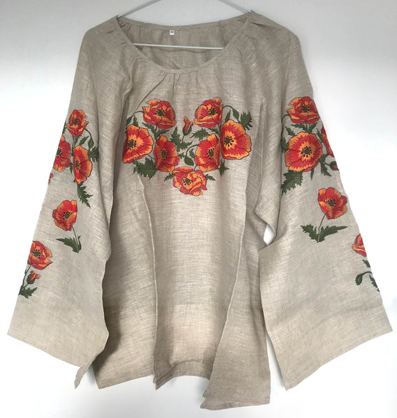 Poppies Linen Floral Blouse