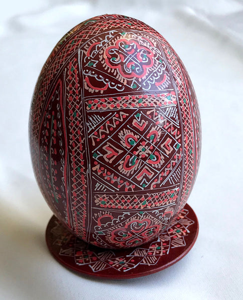 Detailed Wooden Goose Pysanka with Stand