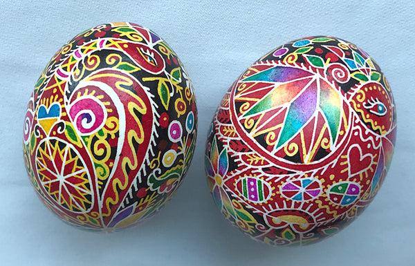Colorful Peacock with Floral Pysanka