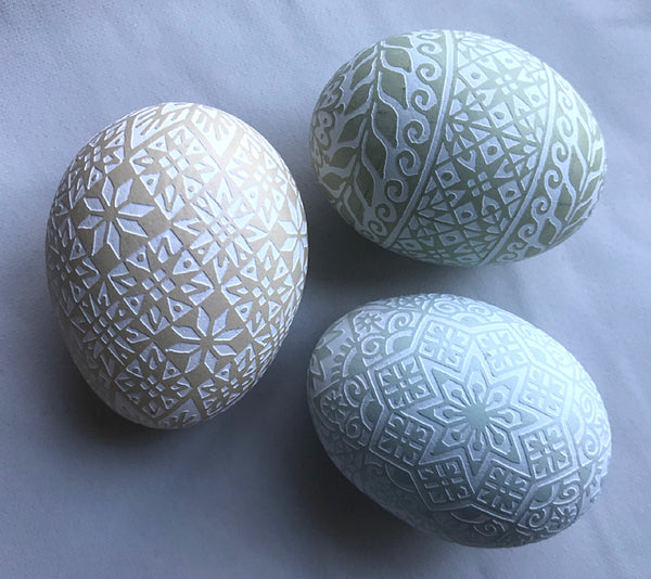 Intricate Monochromatic Etched Pysanka