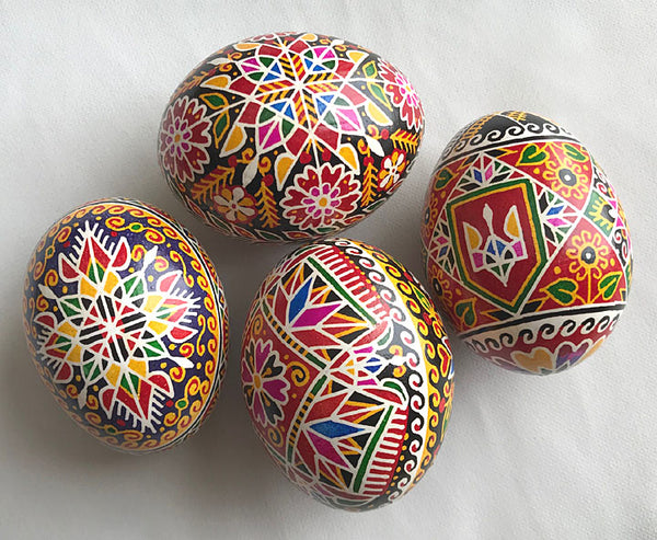 Colorful Tryzub-inspired Pysanka
