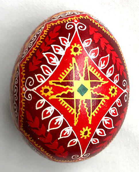 Burgundy Diamond Design Pysanka