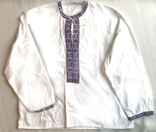 BOYS Purple EMBROIDERED SHIRT