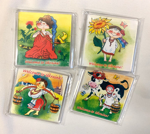Set of 4 Folk Magnets