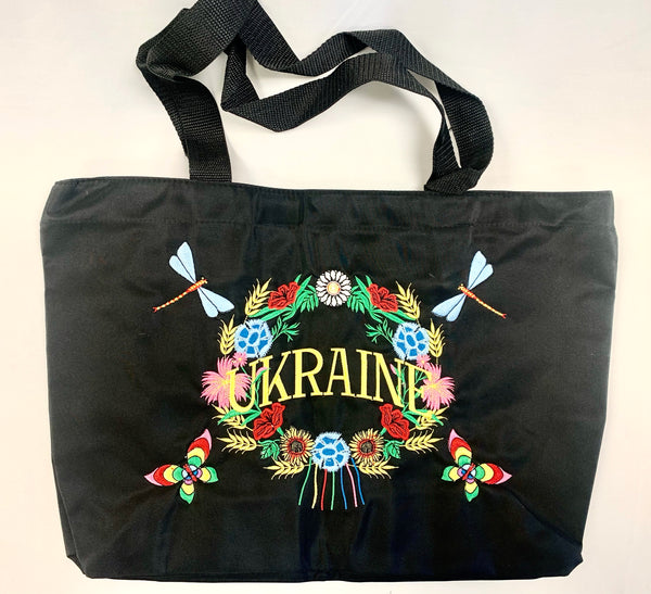 Embroidered Ukraine Tote - Black