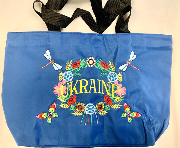 Embroidered Ukraine Tote - Blue
