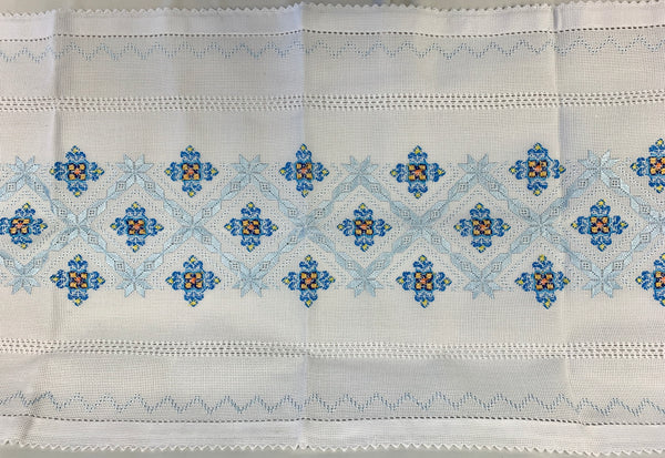 Hand Embroidered Blue Runner