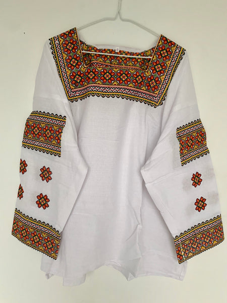 Square Collar Embroidered Blouse