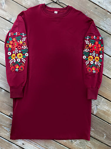 Floral Embroidered Tunic-Dress