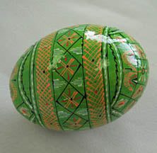 Kosiv Style Wooden Pysanky - Green