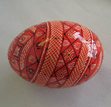 Kosiv Style Wooden Pysanky - Red