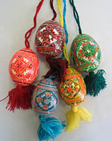 Wooden Pysanka Ornaments (Set of 5)