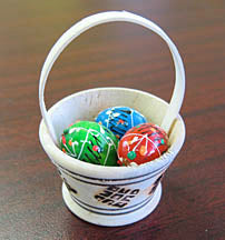 Wooden Mini-Basket with 3 Pysanky