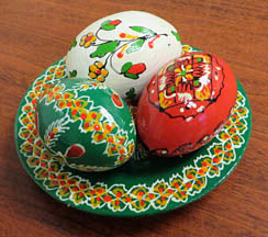 Small Triple Wooden Pysanky Plate