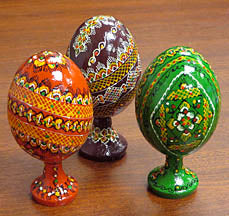 Wooden Goose Pysanka on Stand