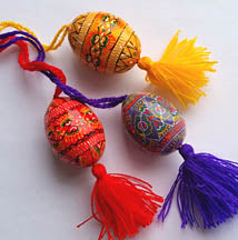 Small Wooden Pysanka on string