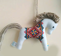 Linen Embroidered Horse Ornament - Toy