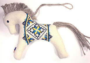 Embroidered Horse Ornament - Blue-Yellow Design