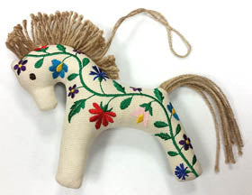 Embroidered Horse Ornament - Floral Design