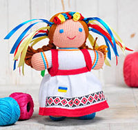 Ukrainian knit red doll 7 in.