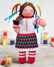 Ukrainian Knit Doll with vinok 11.5 in.