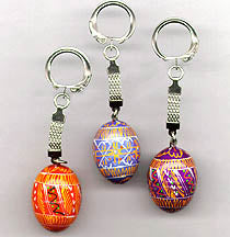 Pysanka Painted Wood Keychain