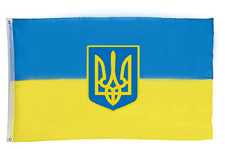 Ukrainian Flag with Tryzub 3x5 ft.