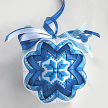 Blue Embroidered Ornament #1-3.0 in.