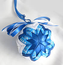 Blue Embroidered Ornament #2-3.0