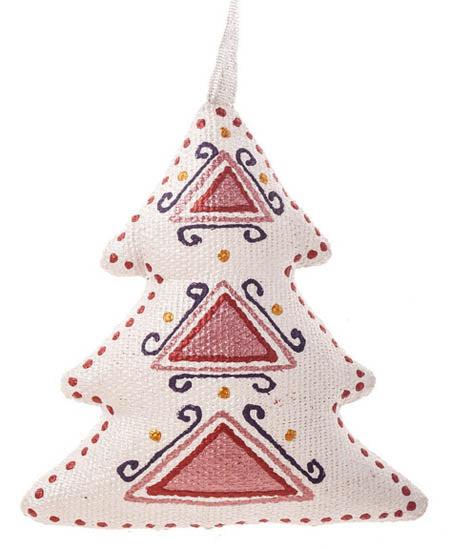 Christmas Tree Ornament - Silver Burgundy