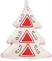 Christmas Tree Ornament - Silver Red