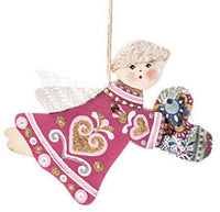 Burgundy Angel Ornament - Love